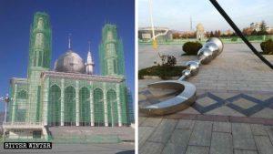 モスクの前面の2つの塔から撤去された三日月のシンボル。
