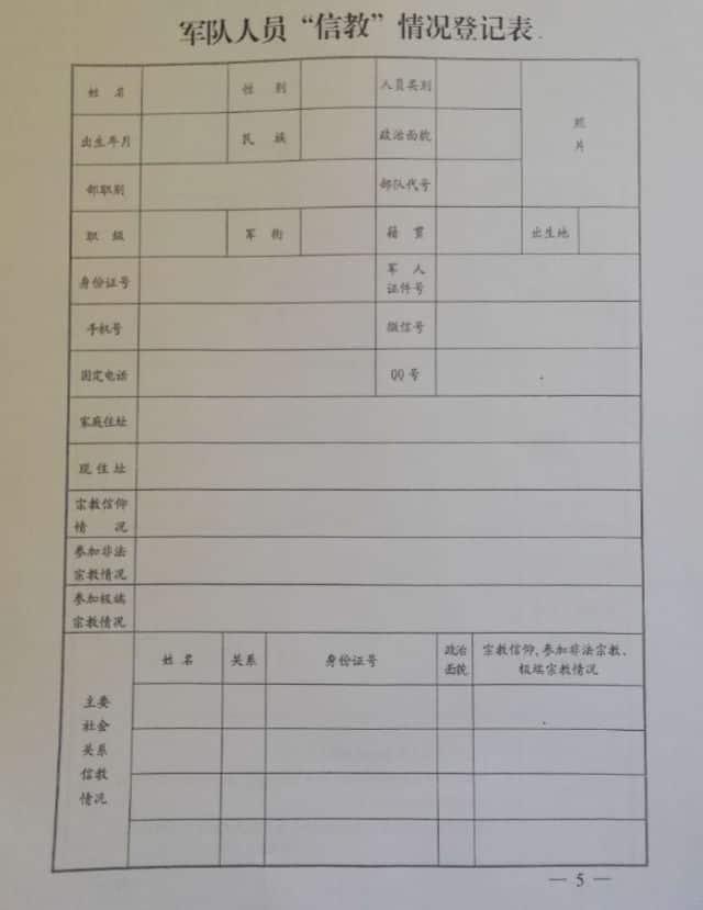 軍隊人員信教状況登録用紙。