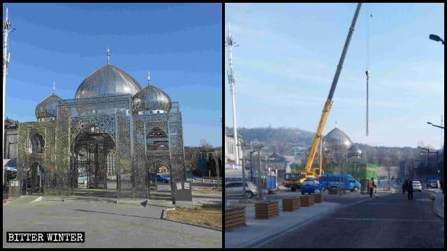 北極清真美食街のイスラム風建築が撤去された。