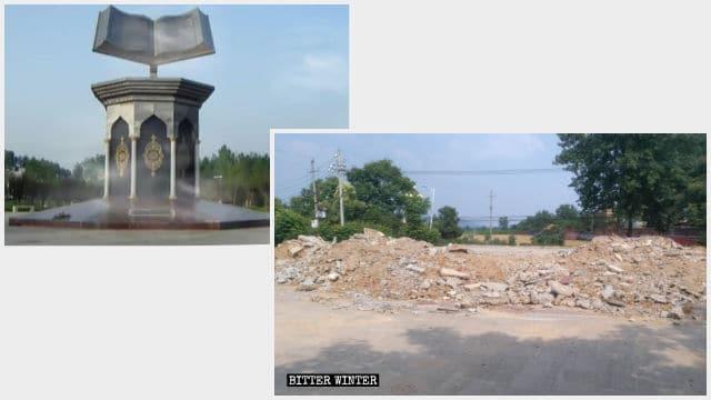 4月に民族広場に置かれていた高さ10メートルのコーランの彫刻作品が破壊された。