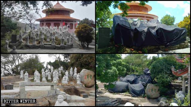東明禅寺の阿羅漢像が覆われる前と後の様子。
