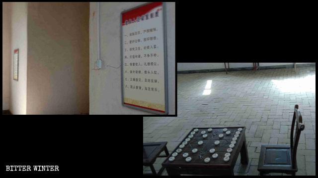 カトリック教会堂に象棋とトランプの卓が運び入れられ、壁には高齢者活動室の規則一覧のポスターが貼られた。