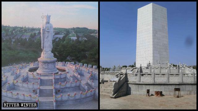 現在は、大理石の板が地藏王菩薩像を取り囲む。