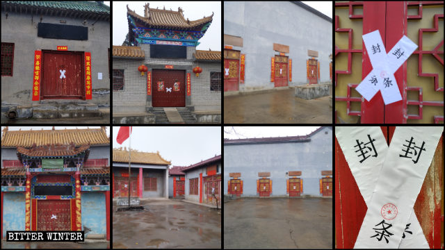 抜き打ち検査の後、寺院は紙テープで封鎖された。