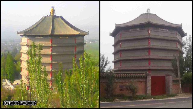 海会塔頂の屋根の「三面仏」が撤去される前と後の様子。