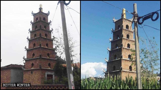 霊應寺内の仏塔についていた像が撤去される前と後の様子。