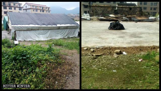 教会が破壊された後、集会を行うために信者が建てた竹小屋も4月に破壊された。