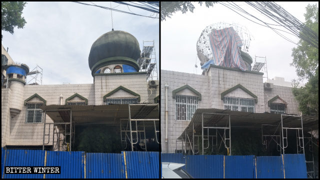 少数民族運動会の開催前、兌周村のモスクのドームが強制撤去された。