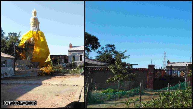 長春市にある道教寺院内の太上老君像が撤去される前と後の様子。