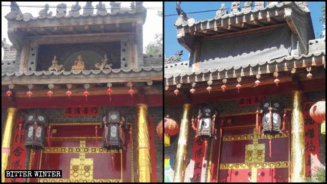 霊應寺の入口上部にあった小さな像3体は布で覆われた。
