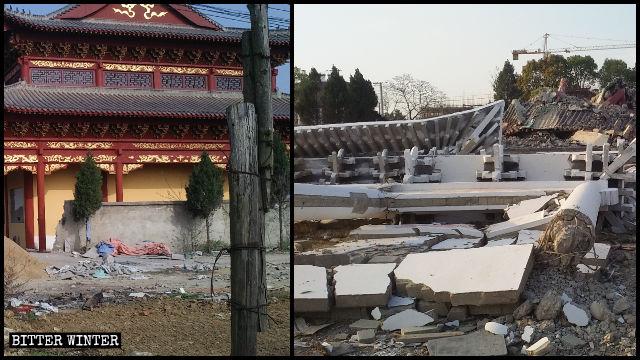 西寺本堂が取り壊される前と後の様子。