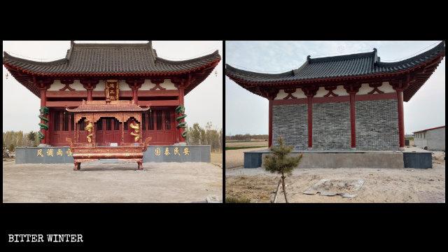 龍王殿に続く入口はレンガでふさがれ、お堂の正面にあった香炉は取り除かれた。